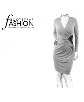 Custom-Fit Sewing Patterns - Draped Faux-Wrap Jersey Dress