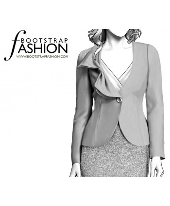 Custom-Fit Sewing Patterns - No-Lapel One-Button Jacket with Ruffle