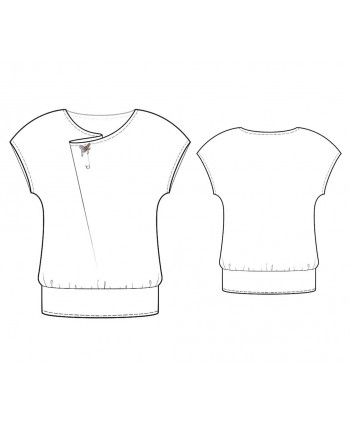 Custom-Fit Sewing Patterns - Capped-Sleeve Blouse with Asymmetrical Neckline
