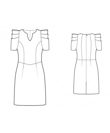 Custom-Fit Sewing Patterns - Couture Pleated Sleeves Dress