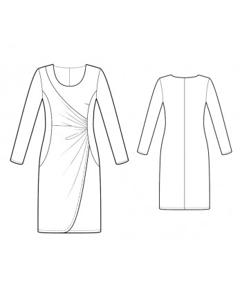 Custom-Fit Sewing Patterns - Knit Scoop Neck Asymmetrically Draped Dress