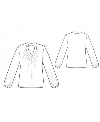 Custom-Fit Sewing Patterns - Long-Sleeved Blouse with Keyhole Neckline