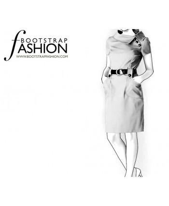 Custom-Fit Sewing Patterns - Side Split Portrait Collar Dress