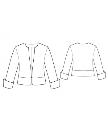 Custom-Fit Sewing Patterns - No-Collar V-Neck Short Jacket