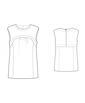 Custom-Fit Sewing Patterns - Sleeveless Yoke Front Blouse