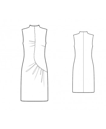 Custom-Fit Sewing Patterns - Funnel Neck Asymmetrical Drape Dress