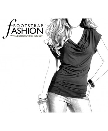 Custom-Fit Sewing Patterns - Cap-Sleeved V-Neck Blouse