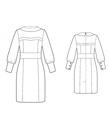 Custom-Fit Sewing Patterns - Bertha Style Collar With Sheer Sleeves Dress