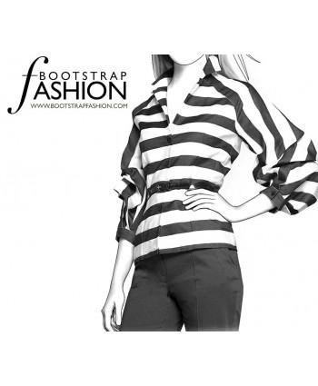 Custom-Fit Sewing Patterns - Tailored Bloused with Raglan Poet Sleeves