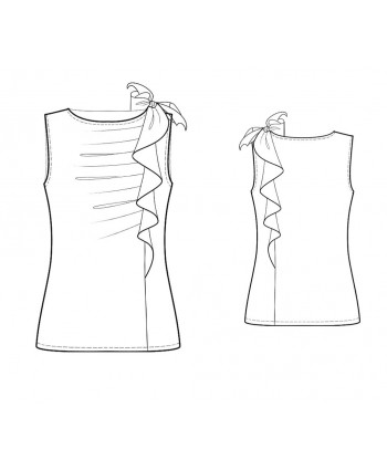 Custom-Fit Sewing Patterns - Side Ruffle Draped Knit Top
