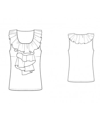 Custom-Fit Sewing Patterns - Sleeveless Ruffle Blouse