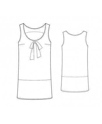 Custom-Fit Sewing Patterns - Scoop Neck Color/Print Block Shift Dress
