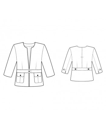 Custom-Fit Sewing Patterns - Collarless Belted Casual Jacket