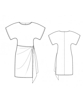 Custom-Fit Sewing Patterns - Wide Kimono Sleeves Dress With Wrap Skirt