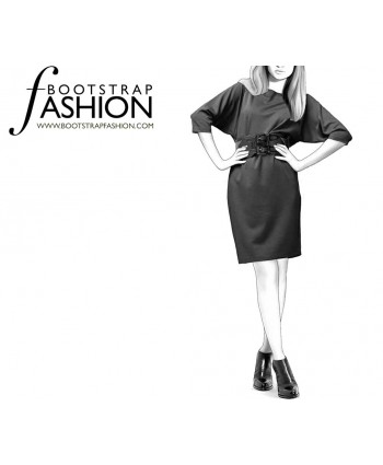 Custom-Fit Sewing Patterns - Kimono-Style Reglan Sleeve Knit Dress
