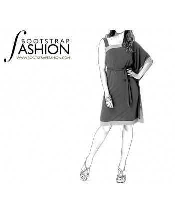 Custom-Fit Sewing Patterns - One Shoulder Draped Sleeve Dress