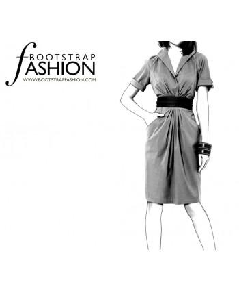 Custom-Fit Sewing Patterns - Raglan Sleeves Draped Shirt Dress