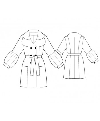 Custom-Fit Sewing Patterns - Pea-Style Coat with Puffy Sleeves