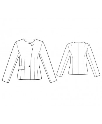 Custom-Fit Sewing Patterns - Long-Sleeved Collar-Less Jacket