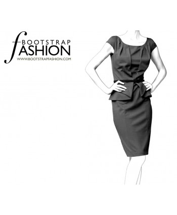 Custom-Fit Sewing Patterns - Origami Peplum Sheath With Draped Neckline