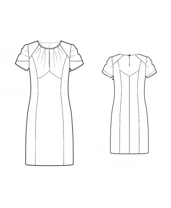 Custom-Fit Sewing Patterns - Draped Sleeves Keyhole Princess Seams Dress