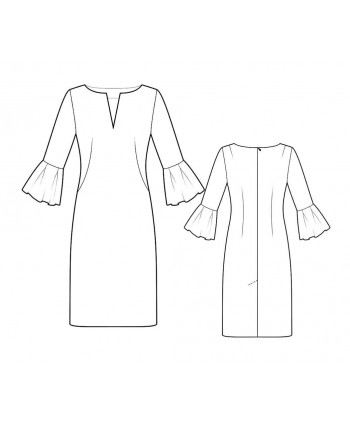 Custom-Fit Sewing Patterns - Split Neck Ruffle Sleeves Dress