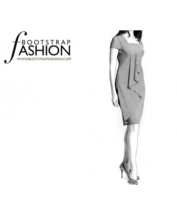 Custom-Fit Sewing Patterns - Square Neck Asymmetrical Drape Dress