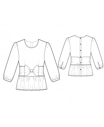 Custom-Fit Sewing Patterns - Round-Neck Blouse with Bow