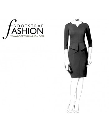 Custom-Fit Sewing Patterns - Split Neck Origami Peplum Dress