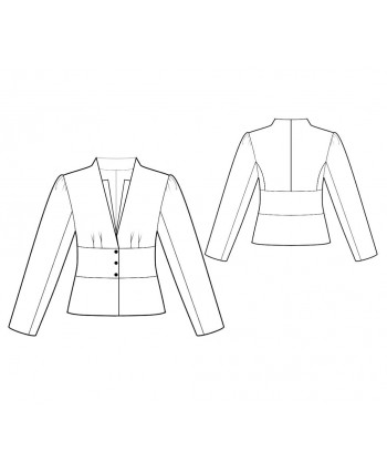 Custom-Fit Sewing Patterns - V-Neck Collarless Jacket