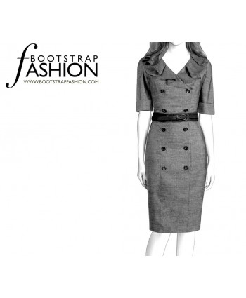 Custom-Fit Sewing Patterns - Pleated Collar Double- Breasted Coat Dress