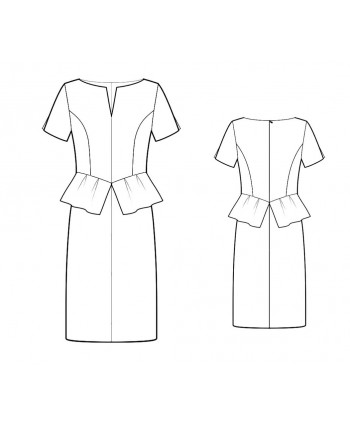 Custom-Fit Sewing Patterns - Split Neck Drop Waist Peplum Dress