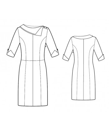 Custom-Fit Sewing Patterns - Princess Seams Asymmetrcal Collar Dress