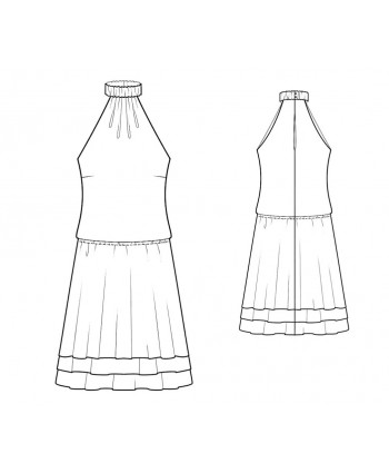 Custom-Fit Sewing Patterns - Drop Waist, Halter Dress