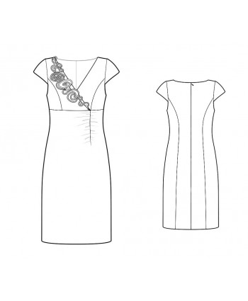 Custom-Fit Sewing Patterns - Rosette Embelished V-Neck Sheath