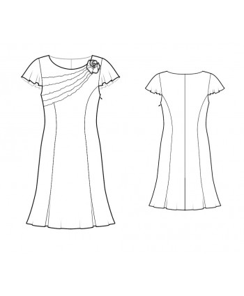 Custom-Fit Sewing Patterns - Chiffon Flutter Sleeves Dress