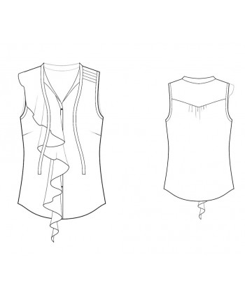 Custom-Fit Sewing Patterns - Sleeveless Blouse with Asymmetrical  Ruffle