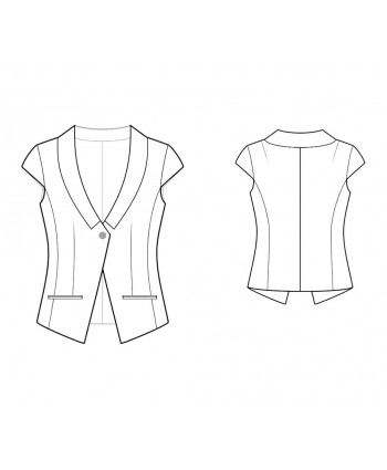 Custom-Fit Sewing Patterns - One-Button Cropped Jacket with Collar