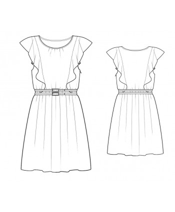 Custom-Fit Sewing Patterns - Flirty Ruffle Gathered A-Line Skirt Dress
