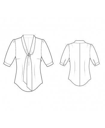 Custom-Fit Sewing Patterns - Fitted Blouse with Tie