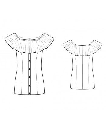 Custom-Fit Sewing Patterns - Button Front Carmen Blouse With Wide Ruffle