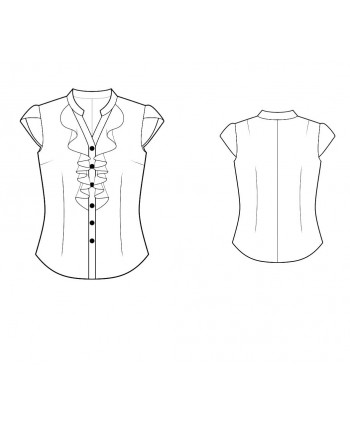 Custom-Fit Sewing Patterns - Buttonfront V-Neck Blouse With Front Ruffles and Petal Sleeves