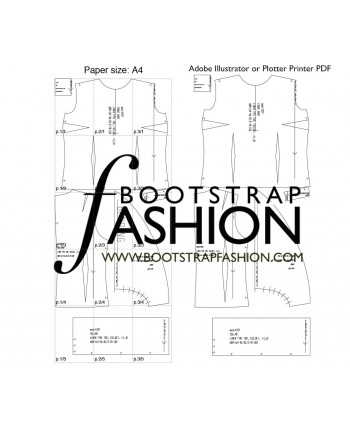 Custom-Fit Sewing Patterns - Blouse With Ruched Stand Collar and Large Front Jabot Ruffle