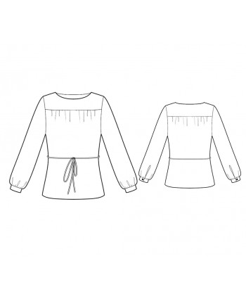 Custom-Fit Sewing Patterns - Boatneck Blouse With Bishop Sleeves And front Yoke