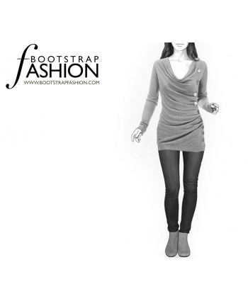 Custom-Fit Sewing Patterns - Cowl Neck Side Button Long Sleeve