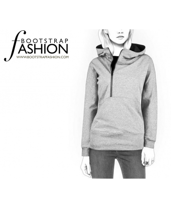 Custom-Fit Sewing Patterns - Asymmetric Zipper Hoodie