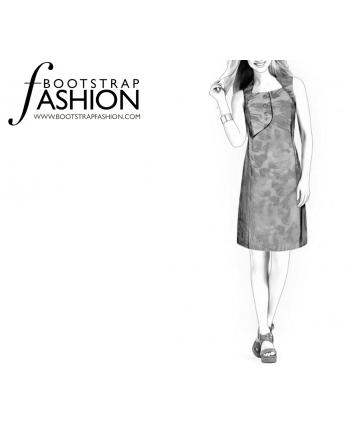 Custom-Fit Sewing Patterns - Asymmetrical Flap A-line Dress