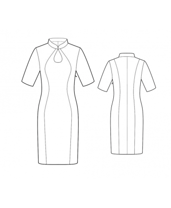 Custom-Fit Sewing Patterns - Keyhole Mandarin Collar Dress
