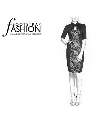 Custom-Fit Sewing Patterns - Keyhole Mandarin Collar Dress