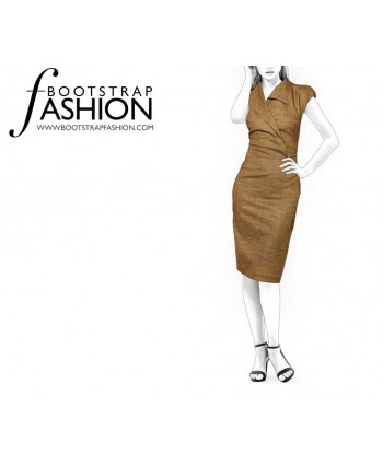 Custom-Fit Sewing Patterns - Asymmetrical Pencil Dress With Collar